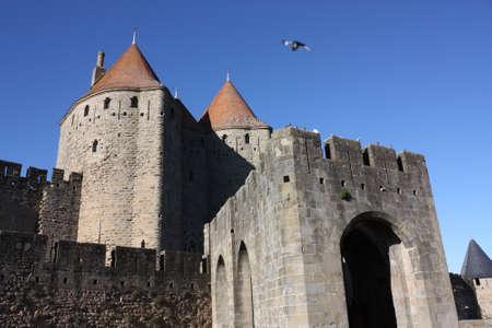 levis: Bridge levis Carcassonne castle in Occitanie, South of France