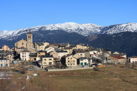 Mountain village of Les Angles in Pyrenees orientales, France Stock Photo - 74604604