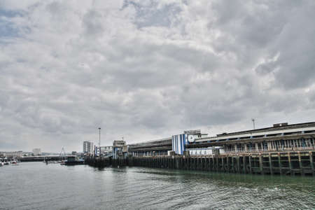 manche: Industrial port of Boulogne sur Mer in Nord, France Editorial