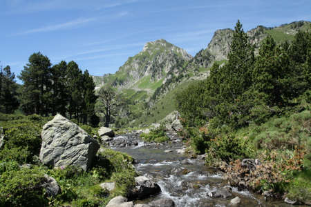 Pyrenean river in Ariege, Occitanie in south of France Stock Photo