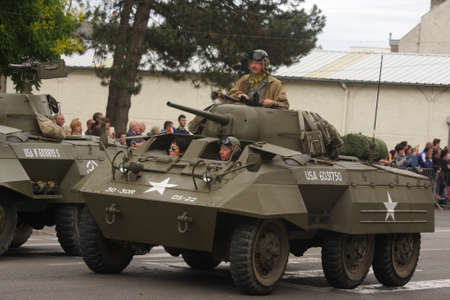American tank of the Second World War parading for the national day of 14 July commemorating the French Revolution