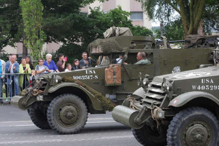 American military vehicle of the Second World War parading for the national day of 14 July commemorating the French Revolution
