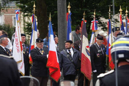 Former fighter marching for the national day of 14 July Commemorating the French Revolution.Saint Quentin in Picardy Region of France Editorial