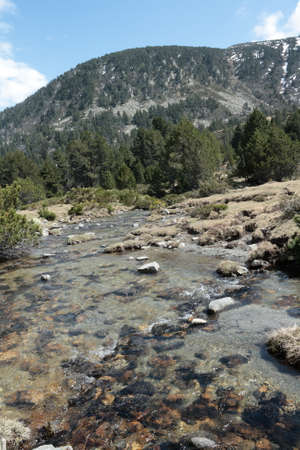 Stream in Pyrenean mountain, Aude, Occitanie in south of France Stock Photo