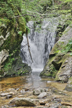 Waterfall in Pyrenees, Aude, Occitanie in south of France Stock Photo