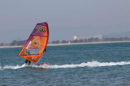 mondial: Windsurfer Sam Esteve at Mondial du vent or World Wind in Leucate, France
