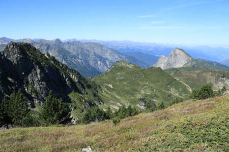Pyrenean mountains in Ariege, Occitanie in south of France Stock Photo