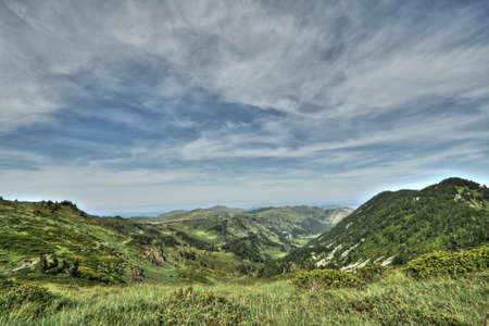 Landscape of Donezan in Pyrenees, Ariege,  Occitanie in south of France