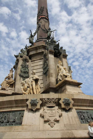 Columbus Monument or Monumento a Colon or Mirador de Colon in Barcelona, Spain. Stock Photo