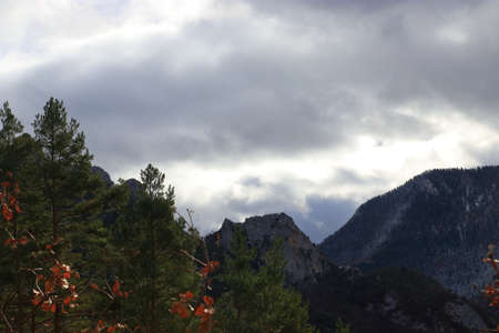 Stormy clouds over pyrenean mountain in Aude, France