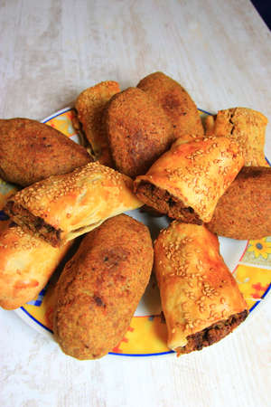 Kibbeh and bourek on a plate, Middle Eastern cuisine