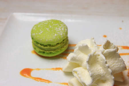 dessert plate of macaroon and chantilly