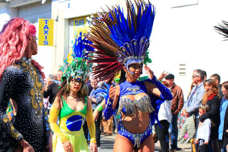Brazilian dancer at the carnival of Limoux in the Aude, Languedoc in the south of France