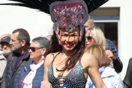 Brazilian woman dancing at the carnival of Limoux in the Aude, Occitanie in the south of France