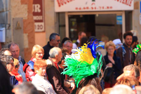 Brazilian dancer and spectators at the carnival of Limoux in the Aude, Languedoc in the south of France Redactioneel