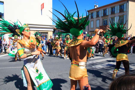Mexican dancers disguised as Indian at the carnival of Limoux in the Aude, Languedoc in the south of France