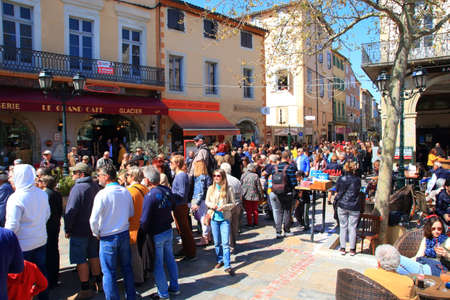 Crowd of people at the carnival of Limoux in Aude, Occitanie in the south of France Redactioneel