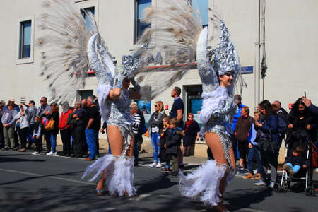 Angels parade at the french carnival of Limoux in Aude, Occitania in the southern of France Redactioneel