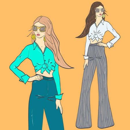 Fashion girl retro 1970s. Vector illustration Illustration