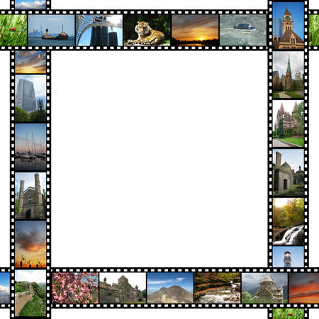 Frame with travel images films photo