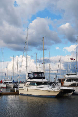 clouded: Yachts on the Ontario Lake Stock Photo