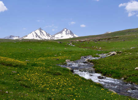 Mountain landscape with river photo