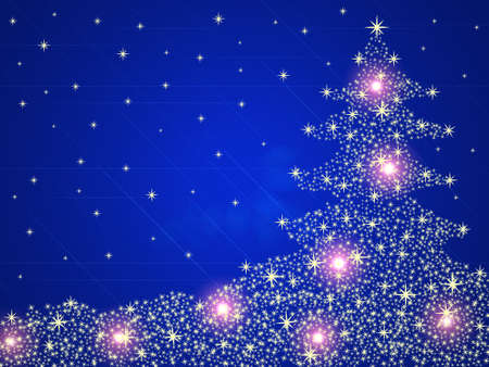 Christmas tree background with stars and lights