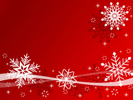 Red Christmas card with snowflakes photo