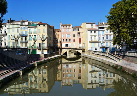 Beautiful houses and river in Narbonne, France
