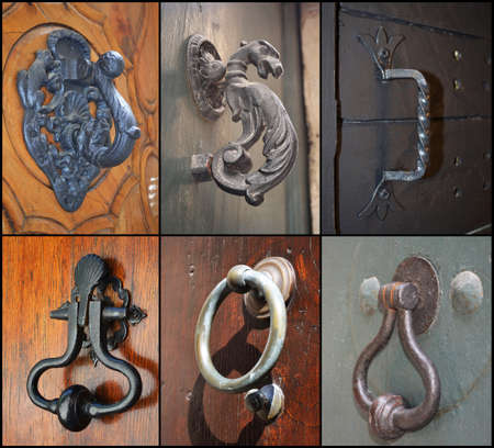 Set of vintage door handles photo
