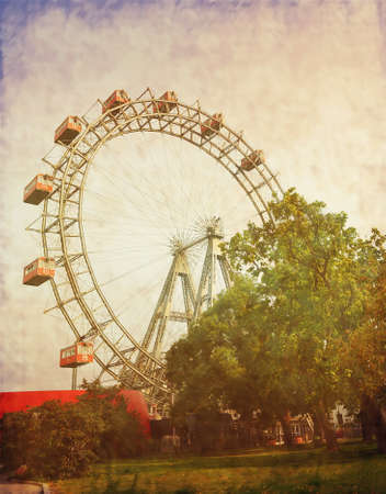 Vintage photograph of ferris wheel