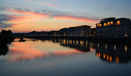 Sunset over Arno river Stock Photo