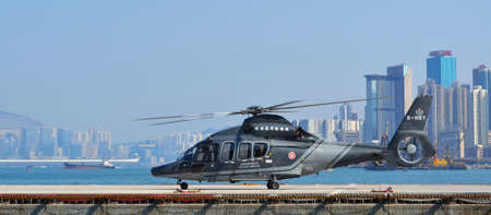 Hong Kong, December 4, 2013  Helicopter of government flying service in Hong Kong