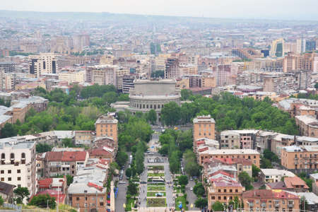 View of Yerevan center from Cascade, a giant stairway in Yerevan, Armenia.