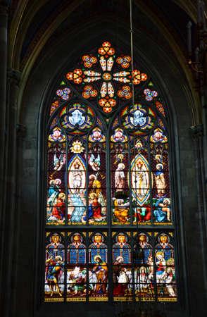 votive: Gothic stained-glass window in Votive Church, Vienna Editorial