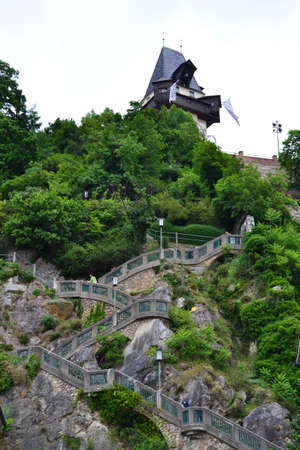 Stairway to the Clock Tower in Schlossber, Graz