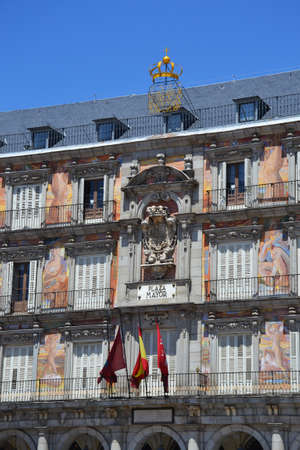 Facade of old building on Plaza Mayor, Madrid, Spain.