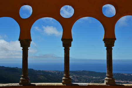 the pena national palace: Arches of the Pena National Palace in Sintra, Portugal