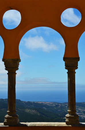 pena: Arches of the Pena National Palace in Sintra, Portugal