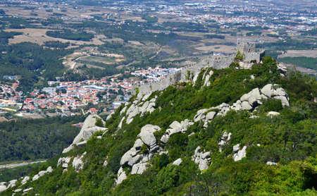 sintra: Walls of Castle of Sintra, Moorish Castle, Sintra, Portugal Editorial