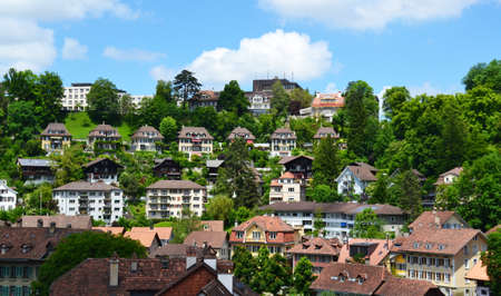 city park boat house: View of Bern and Aare river, Switzerland