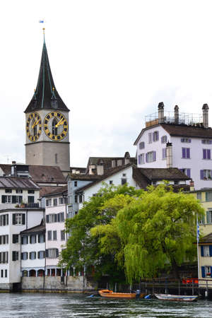View of Zurich with Limmat river, Switzerland. Stock Photo