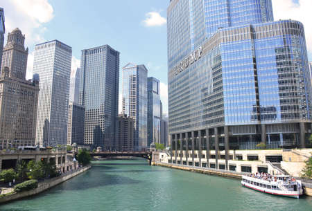 Chicago River and downtown Chicago, Illinois
