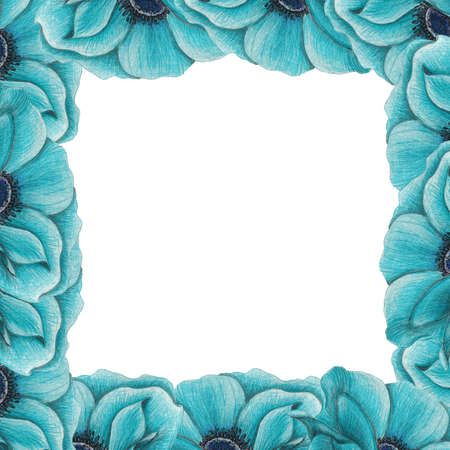 frame of blue anemones photo