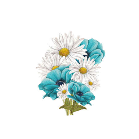 chamomile: Bouquet of blue anemones and chamomile Stock Photo