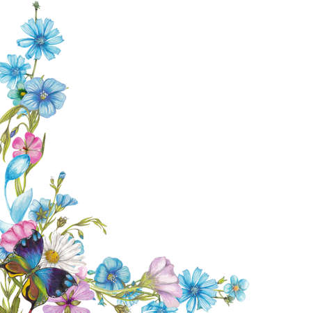 Wildflowers and butterfly 스톡 콘텐츠