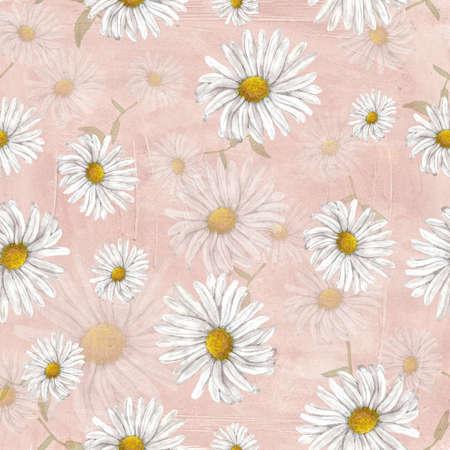 chamomile: Chamomile pattern on grange pink background