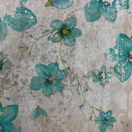 Blue flowers on grange gray background