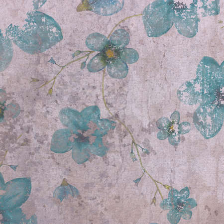 grange: Watercolor pattern of blue flowers on grange violet background Stock Photo