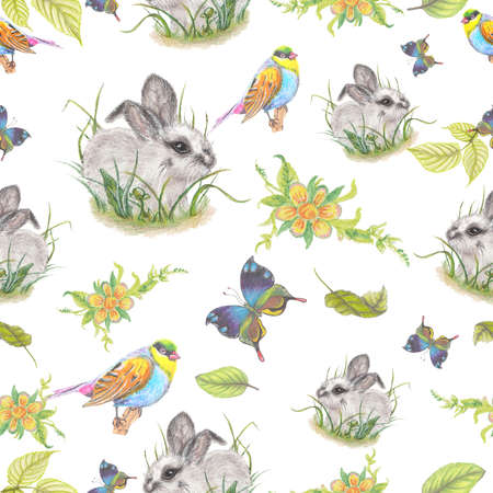 color pencil: Seamless watercolor pattern